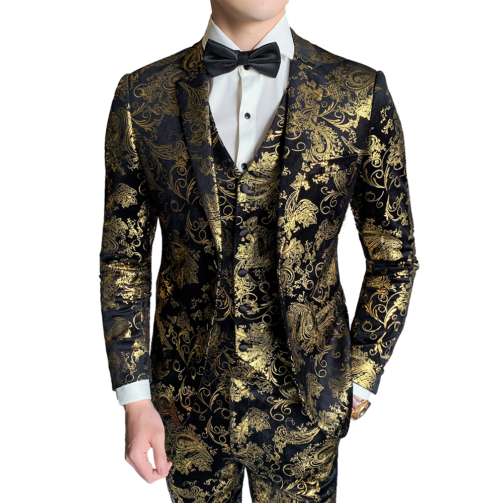 ( Jacket + Vest + Pant ) New Boutique Fashion Hot Stamping Mens Casual Business Suit Groom Wedding Dress Stage Suit 3 Pcs Set