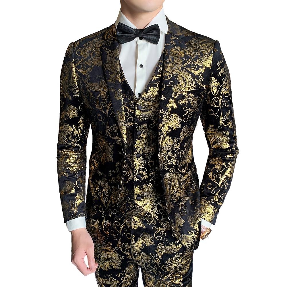 ( Jacket + Vest + Pant ) New Boutique Fashion Hot Stamping Mens Casual Business Suit Groom Wedding Dress Stage Suit 3 Pcs Set