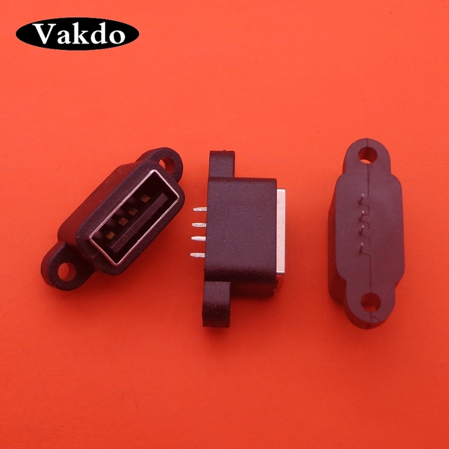 20pcs עמיד למים USB 2.0 טעינת נתונים זנב התוספת USB Built in ממשק יציאת מחבר תקע שקע שקע