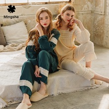 Pajamas womens autumn and winter new casual comfortable ladies suit girlfriends home service Japanese-style cotton pajamas