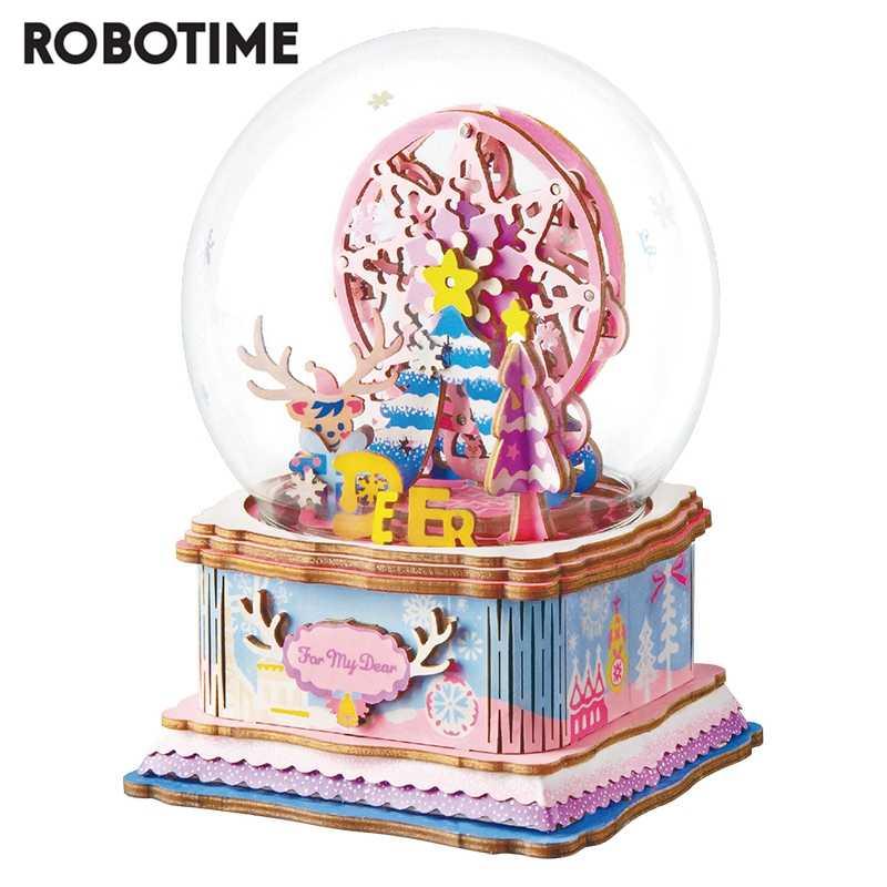 Robotime 2020 Neue Ankunft 7 Arten DIY 3D Puzzle Spiel Montage Bewegliche Musik Box Spielzeug Geschenk für Kinder Erwachsene