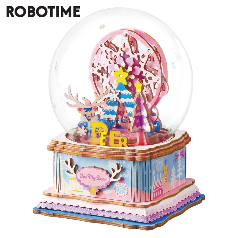 Robotime 2020 New Arrival 7 Kinds DIY 3D Puzzle Game Assembly Moveable Music Box Toy Gift For Children Adult