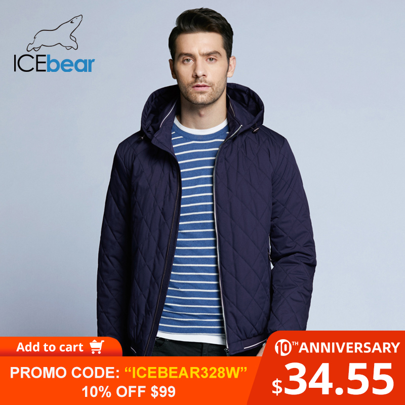 ICEbear 2019 New Autumn Men's Cotton Classic Quilted Design Coats Hat Detachable Fashion Man Jacket BMWC18032D