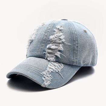 цена на Hole Cowboy Hats for Women Street Fashion Solid Color Baseball Cap Women's Summer UV Protection Sun Hat Baseballcap Boys