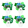 7 шт. трактор воздушные шары в форме цифр комплект зеленая строительство автомобиля Фольга шар для мальчиков подарки День рождения Декор де...