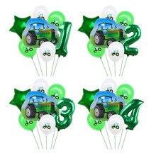 7 pçs trator digital balões conjunto verde construção da folha de carro balão meninos presentes festa aniversário decoração crianças brinquedos para casa suprimentos