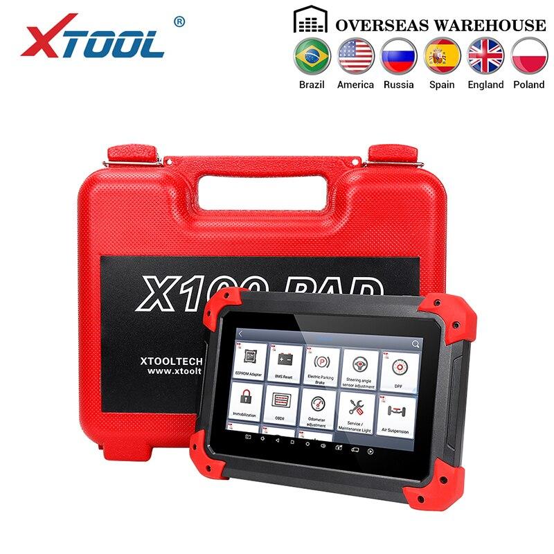 X100 almofada obd2 auto programador chave scanner de diagnóstico leitor de código automotivo immo epb dpf bms redefinir odômetro eeprom atualização online