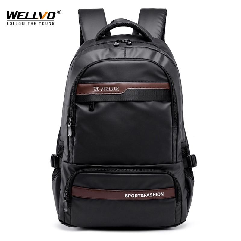 Vintage Men Backpack Large Nylon Travel Laptop Bag For Teenage School Backpacks Male Patchwork Schoolbag Mochila Black XA129C