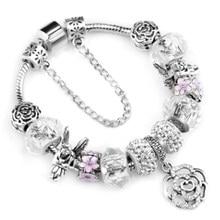 Bracelet de fleur de cristal, conte de fées de printemps, à la mode, bricolage, chaîne en os de serpent plaqué argent, bracelets de marque, cadeaux, livraison directe