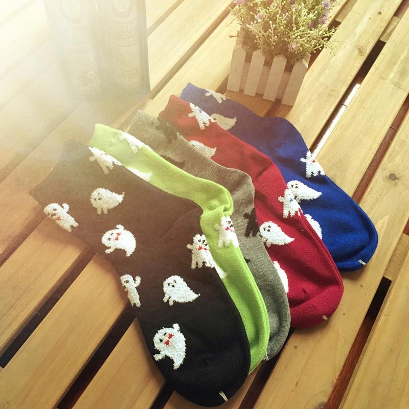 Cartoon Ghost Printed Socks Autumn Winter Harajuku Women Cotton Sock No Face Male Cute Funny Novelty Soft Comfort Breathable