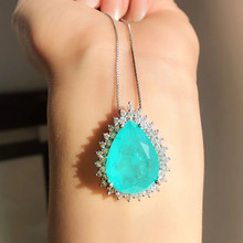 Romantic Sterling 925 Silver Paraiba Tourmaline Emerald Stone Pendant Necklace Lab Diamond Chains Fine Jewelry Gift for Women