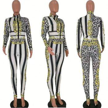 Women Clothing Two Piece Sets Women Outfits Conjunto Deportivo Mujer Printing Stripe Long Sleeve Zipper Sport 2 Piece Set Womens tanie i dobre opinie LEOSOXS REGULAR Powyżej kolana Mini Osób w wieku 18-35 lat Stanąć kołnierz Elastyczny pas Poliester Pani urząd Pełna