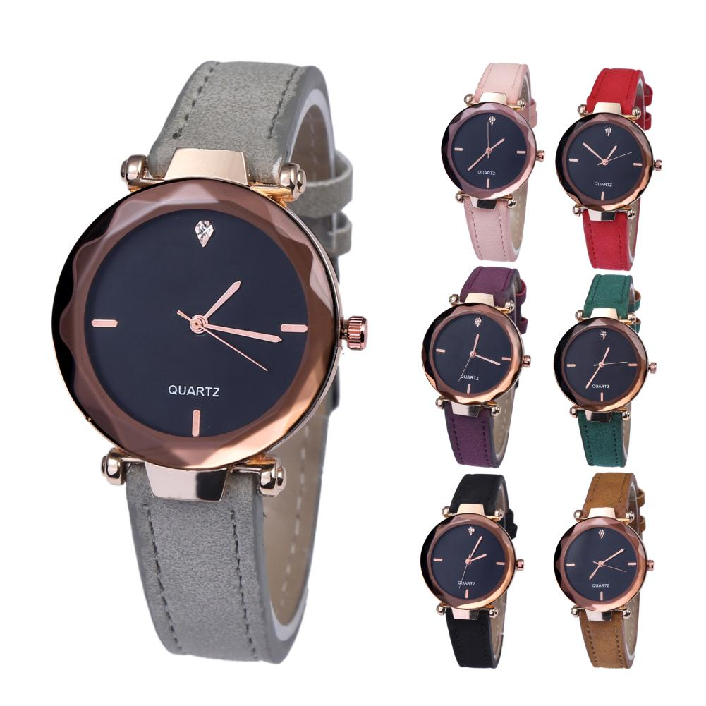 Clearance Sale Fashion Ladies Watches Rhinestone Faux Leather Band Women Casual Round Quartz Wrist Watch Gift Relojes Para Mujer