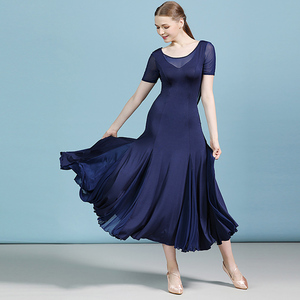 Image 5 - מוצק צבע בחזרה סלסולים שמלת ריקודים סלוניים מודרני ריקוד פלמנקו ואלס שמלת מקובל ללבוש תחרות