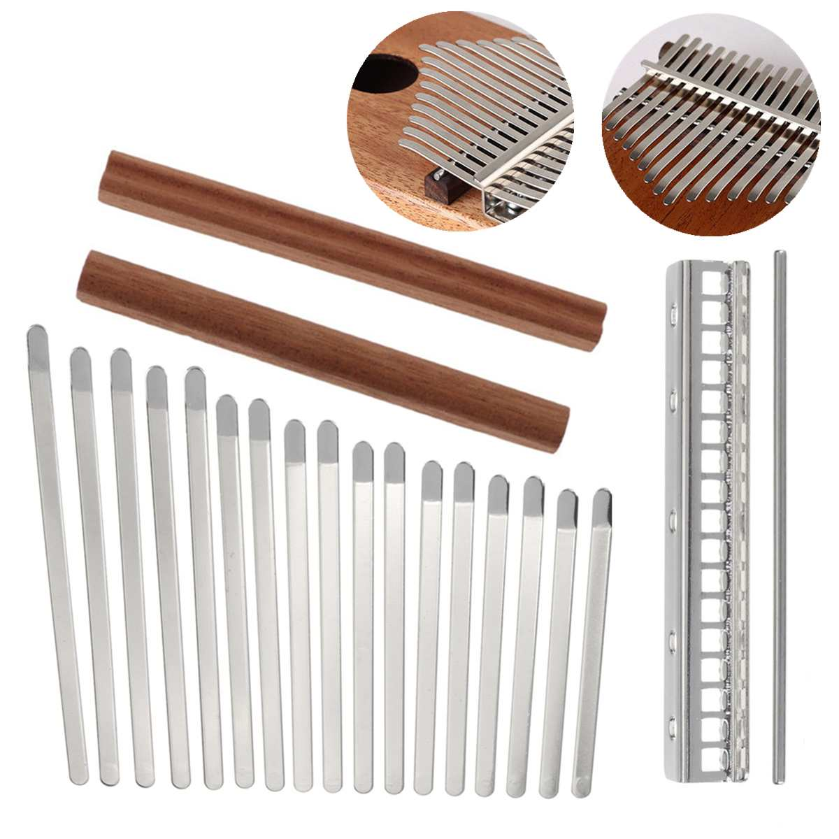 DIY 17 Key Steel Keys Bridge Thumb Piano  Kalimba Mbira  Music Replacement Parts Accessories
