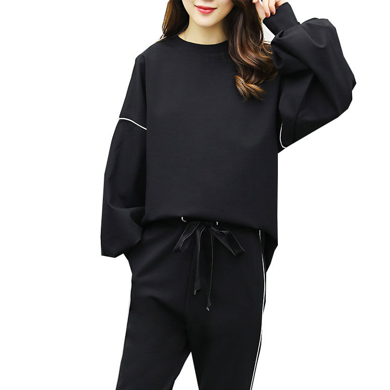 Fashion Large Size Women's Fat Mm Sweater Suit Tracksuit For Women Spring And Autumn 2020 New Long-sleeved Casual Two Piece Set