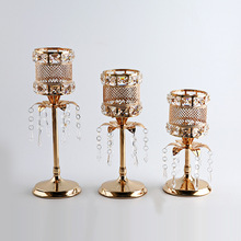 1Pc Retro Crystal Candle Holder Hollow Out Candlestick Festival Wedding Party Decorative Props