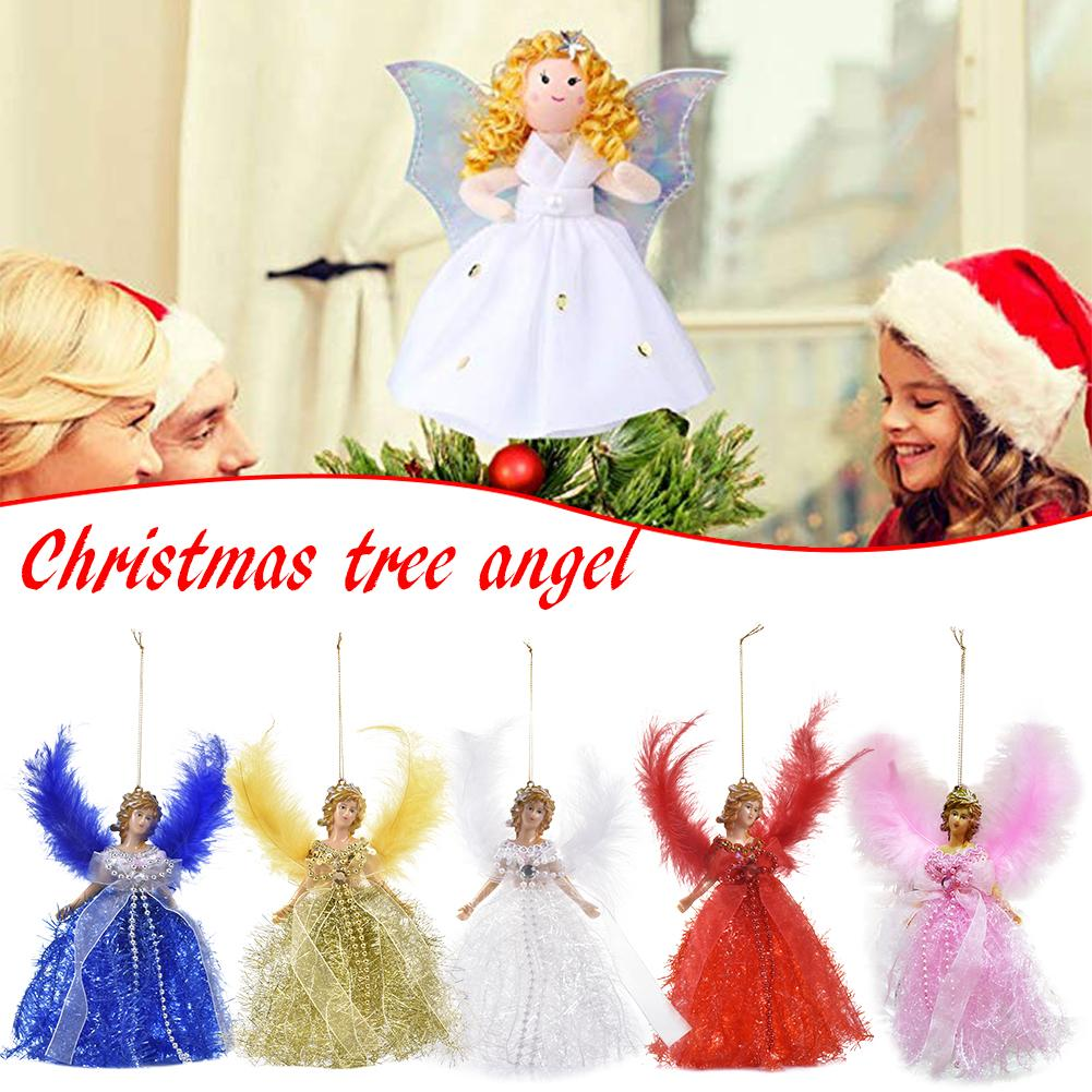 Mini Angel Christmas Doll Soft Plush Toys With Feather Wings For Christmas Children Kids Gifts