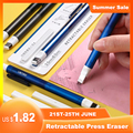 Deli 71098 Korrektur Liefert Bleistift Gummi Versenkbare Drücken Radiergummi Schule Schreibwaren Radiergummis für Kinder