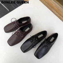 Casual Lace Up Oxford Shoes Women Flats Ballerina Square Toe Low Heel Loafers Flat Boat Shoes For Women Sneakers Female Ladies Single Shoes 2019 Autumn Footwear Vintage Retro Style Oxfords Leisure Shoes zapatos mujer first dance women oxfords dr matrins girl casual shoes female leisure shoes for women flats oxford custom 3d prints black shoes