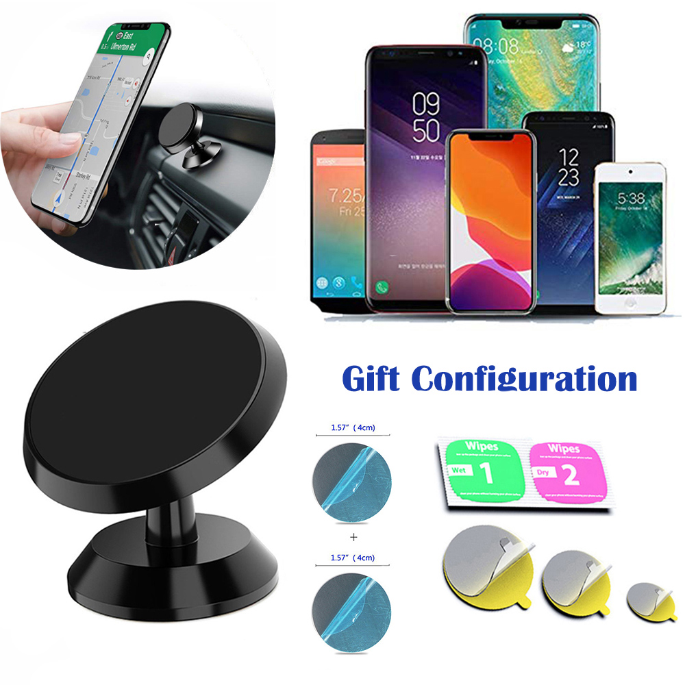 Magnetic Car Mobile Phone Holder 360 Degree Rotation Mount Support Bracket Wall Stick Stand For Iphone Samsung Xiaomi Huawei GPS
