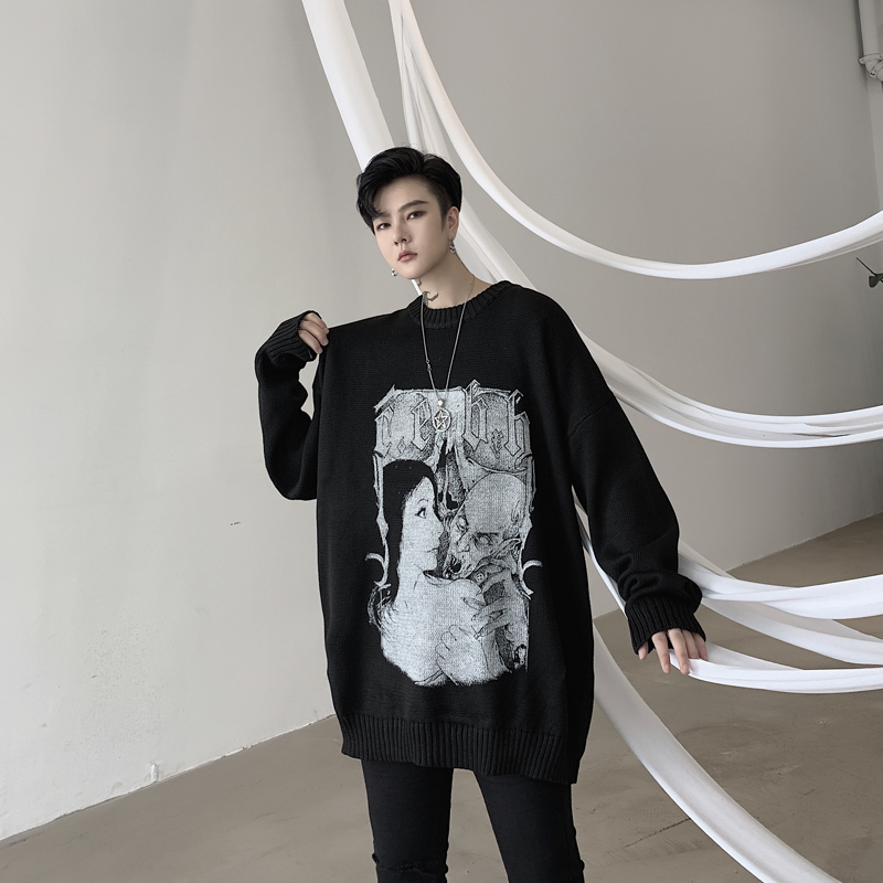 Men Autumn Winter Loose Casual Pattern Print Long Sleeve Knitted Pullover Sweater Male Women Streetwear Hip Hop Fashion Sweater