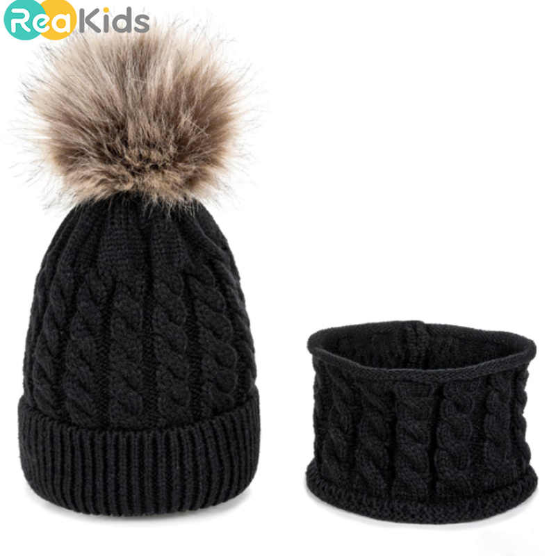 REAKIDS 2 ピース/セット新生児子供の冬の帽子 + スカーフスーツニット帽子暖かいポンポンハット少年少女ユニバーサルキャップ