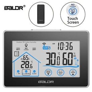 Image 1 - Baldr Draadloze Weerstation Touch Screen Thermometer Hygrometer Indoor Outdoor Weerbericht Sensor Kalender 3 Ch