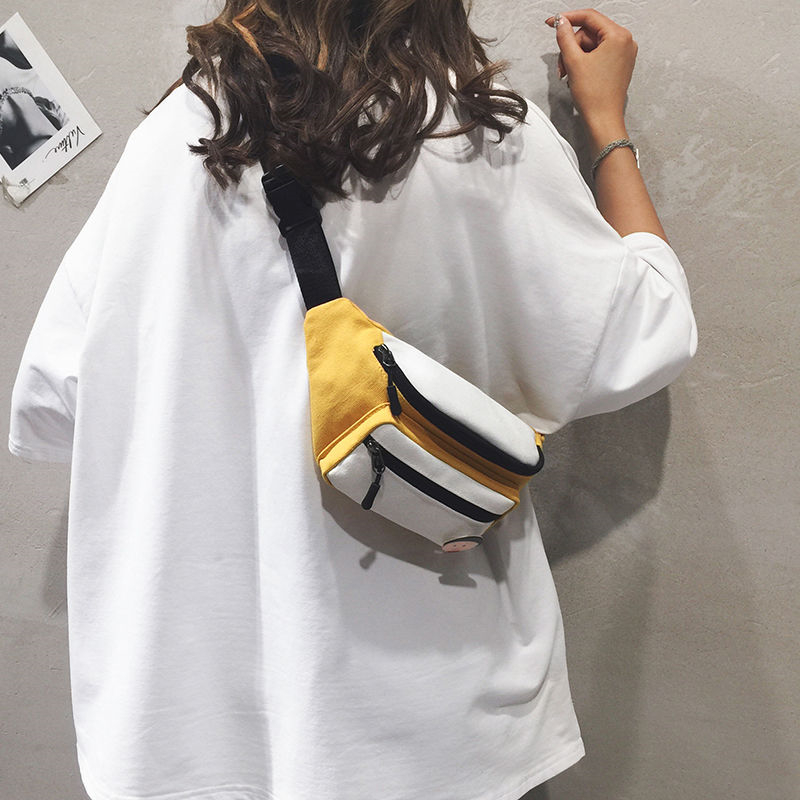NiceMix Streetwear Women Chest Bag Tide Western Korean Style Canvas Bag All Matching Ins Messenger Bag Fashion Small Waist Bag