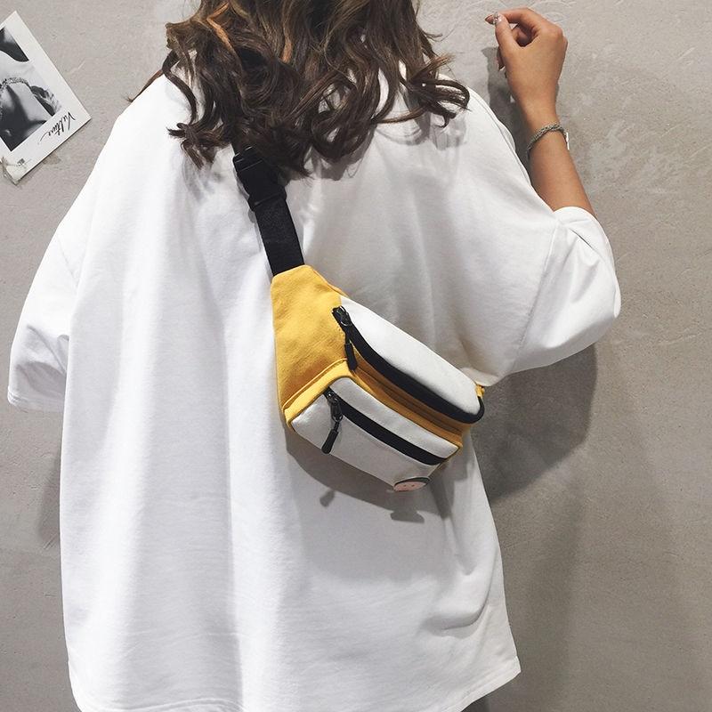 NiceMix Streetwear Women Chest Bag Tide Western Korean Style Canvas Bag All Matching Ins Messenger Bag Fashion Small Waist Bag