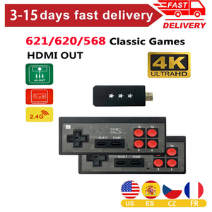 4K Video Game Consoles HDMI Mini Wireless Controller Built In 568/620/621 Classic Retro Game Console Dual Players AV/HDMI Output