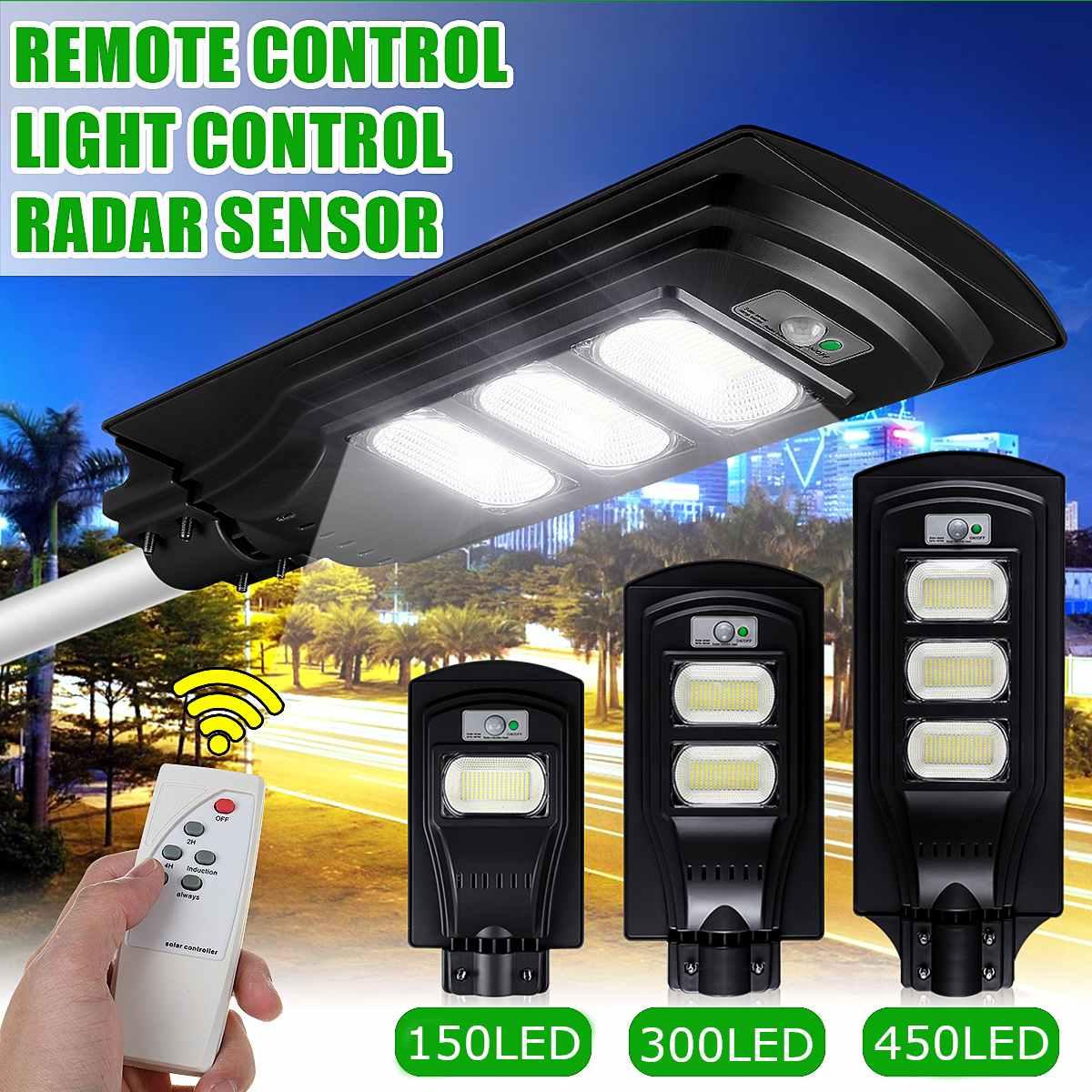 50W 100W 150W LED Solar Street Light Timing Control+PIR Motion Sensor Outdoor Wall Lamp With Remote Control 6V Solar Power