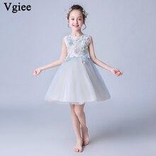Vgiee Little Girls Dresses Knee-Length Flowers Sleeveless Kids for Wedding Birthday Baby Girl Clothes CC595