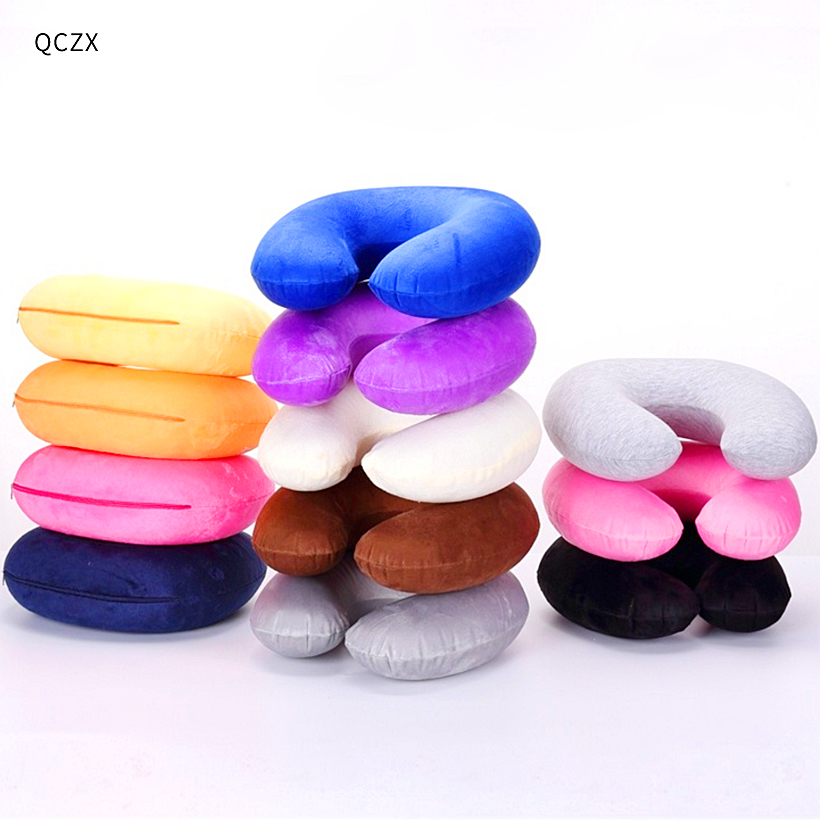 QCZX Travel U-shaped Pillow Inflatable Neck Pillow Inflatable U Shaped Travel Pillow Car Head Neck Rest Air Cushion For D40