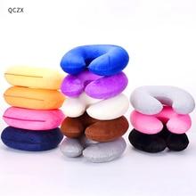 QCZX oreiller de voyage gonflable en forme de U en forme de U, oreiller de voyage gonflable en forme de U, coussin à Air pour repos de la tête de voiture, D40