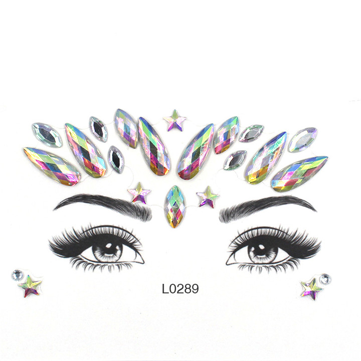 3  Acrylic Jewelry Stickers Colorful Rhinestone Face Stickers For Women Eyebrow Eye Masquerade Decor Resin DIY Drill Face Sticker