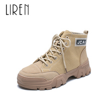 Liren 2019 Spring/Autumn Lady Fashion Casual Ankle Lace-up Boots Canvas Comfortable Round Toe Flat Heels