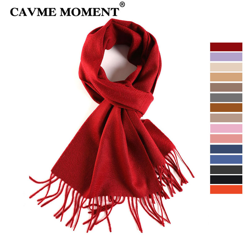 CAVME TOP Grade 100% Cashemere écharpe pour filles garçon enfants rouge noël couleur unie écharpes cadeau 28*180cm 120g lettre personnalisée