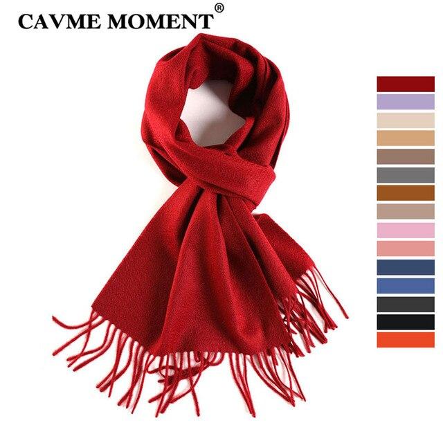 CAVME TOP Grade 100% Cashemere Schal für Mädchen Junge Kinder Rot Weihnachten Einfarbig Schals Geschenk 28*180cm 120g CUSTOM Brief