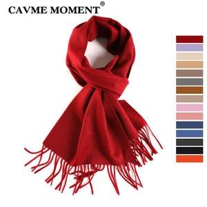 Image 1 - CAVME TOP Grade 100% Cashemere Sjaal voor Meisjes Jongen Kids Rode Kerst Effen Kleur Sjaals Gift 28*180cm 120g CUSTOM Brief