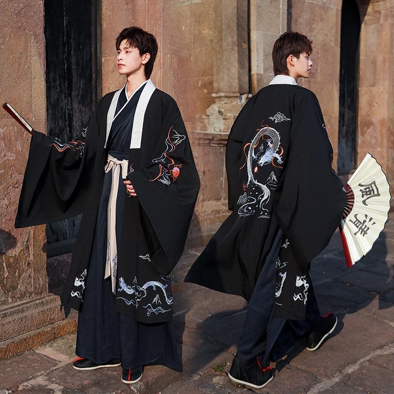 Men Tang Suit Ancient Costume Hanfu Folk Dress Black Embroidered Dragon Coat Long Robe Male Festival Rave Outfit DNV12442