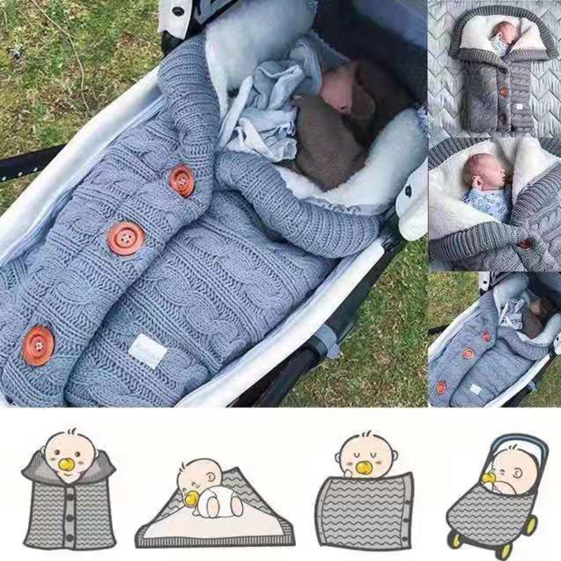 Warm Blanket Soft Baby Sleeping Bag Footmuff Cotton Knitting Envelope New Born Boy Girl Swad Wrap Accessories Sleepsacks Fashion