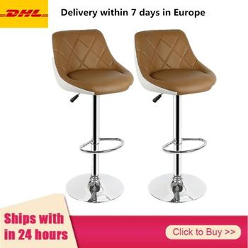 Bar Chair 2pcs Modern Fashion Bar Chair Soft PU Leather Barstool Chair Swivel Adjustable High Stool Kitchen Living Room HWC