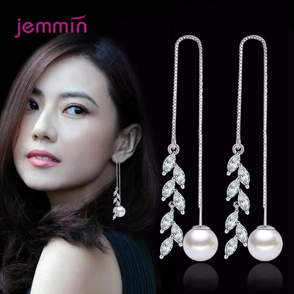 Cubic Zirconia 925 Sterling Silver Cherry Blossom Leaves Tassel Drop Earrings For Women Engagement Danle Jewelry