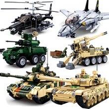 Танковые Пушки, вертолеты, самолет, совместимый с Legoing WW2, милитаризованный бронированный автомобиль, армейский автомобиль, фигурки, набор строительных блоков, игрушка