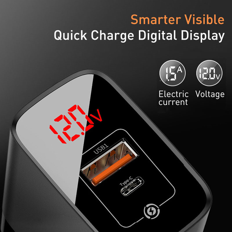 Image 3 - Baseus Digital Display Quick Charge 3.0 USB Charger 18W PD 3.0 Fast Charger for iPhone 11 Pro Charger Mobile Phone USB C ChargerMobile Phone Chargers   -
