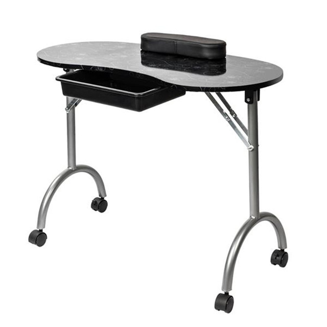 Portable MDF Manicure Table with Arm Rest & Drawer Salon Spa Nail Equipment White 4