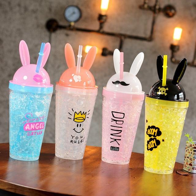 Boxi Kawaii Bunny Ears Drinking Straw Bottle Creative Cute Rabbit Ice Cup Kpop Fashion Double Straw Plastic Cartoon Mug For Girl 1