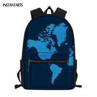 INSTANTARTS Hot World Map Travel Printing School Bags Large Teenager Bookbags Back to School Gift Schoolbags Rucksack Satchel