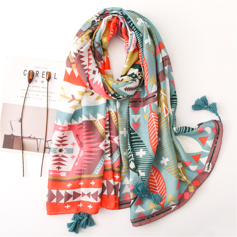Women Fashion Aztec Geometric Tassel Viscose Shawl Scarf Spain Luxury Print Soft Wrap Pashmina Stole Foulards Muslim Hijab Sjaal